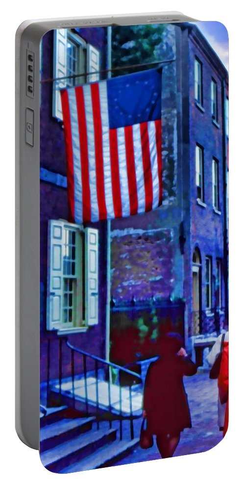 Portable Battery Charger featuring the digital art Buildings Flag Bright Red Coat by Cathy Anderson