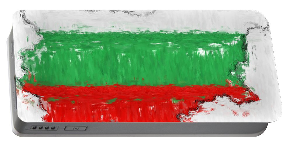 Bulgaria Portable Battery Charger featuring the photograph Bulgaria Painted Flag Map by Antony McAulay