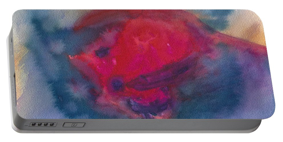 Watercolor Art Portable Battery Charger featuring the painting Bull Fight Abstract by Frank Bright