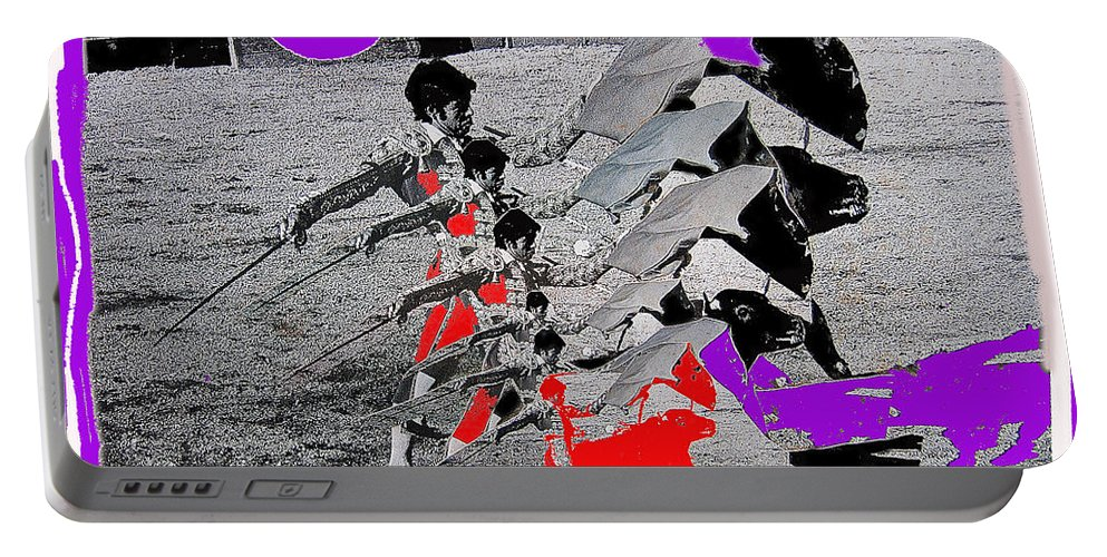 Bull Fight Matador Charging Bull Collage Us-mexico Mexico Border Town Nogales Sonora Mexico  1978-2012 Ted Degrazia Portable Battery Charger featuring the photograph Bull Fight Matador Charging Bull Collage Us-mexico Mexico Border Town Nogales Sonora Mexico  1978-2 by David Lee Guss