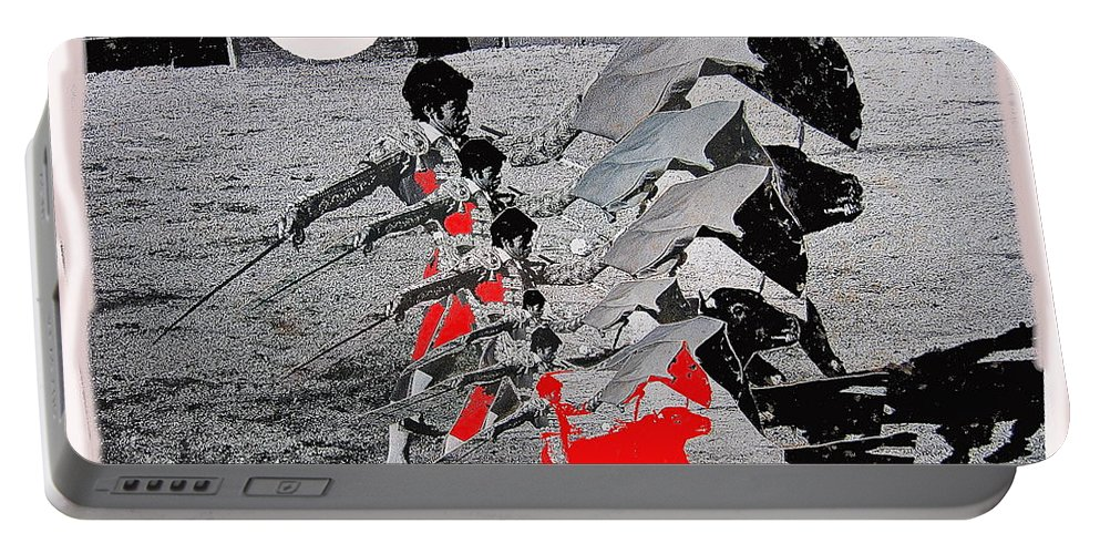 Bull Fight Matador Charging Bull Us Mexico Border Town Nogales Sonora Mexico Collage 1978 Vignetted Color Added Portable Battery Charger featuring the photograph Bull Fight Matador Charging Bull Us Mexico Border Town Nogales Sonora Mexico Collage 1978-2012 by David Lee Guss