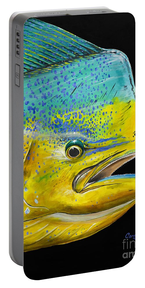 Bull Dolphin Portable Battery Charger featuring the painting Bull Head Off0033 by Carey Chen