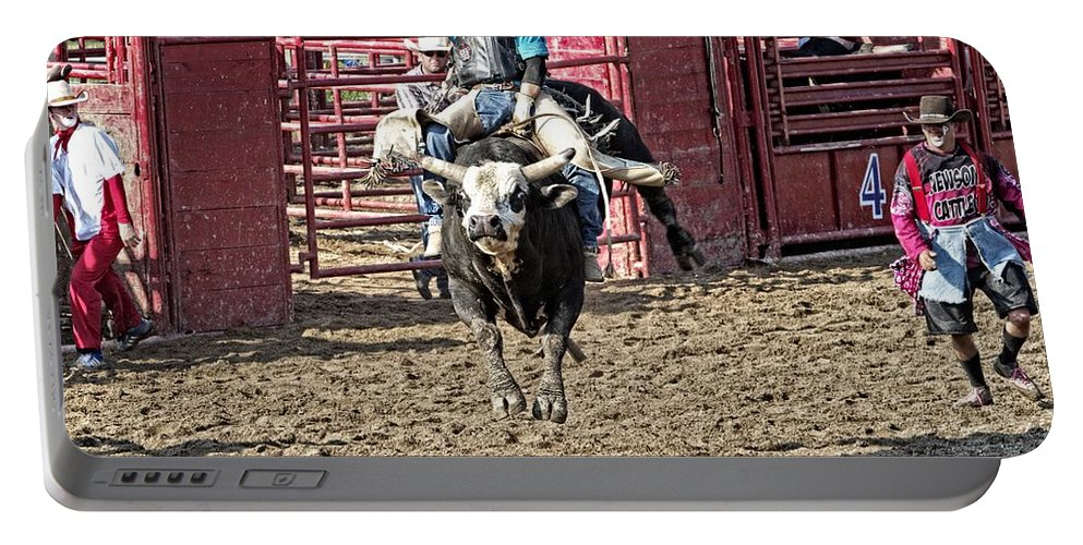 Bull Portable Battery Charger featuring the photograph Bull In The Air by Alice Gipson