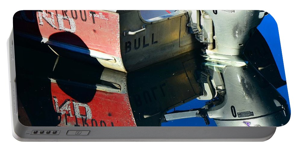 Abstract Portable Battery Charger featuring the photograph Bull In The Water by Lauren Leigh Hunter Fine Art Photography