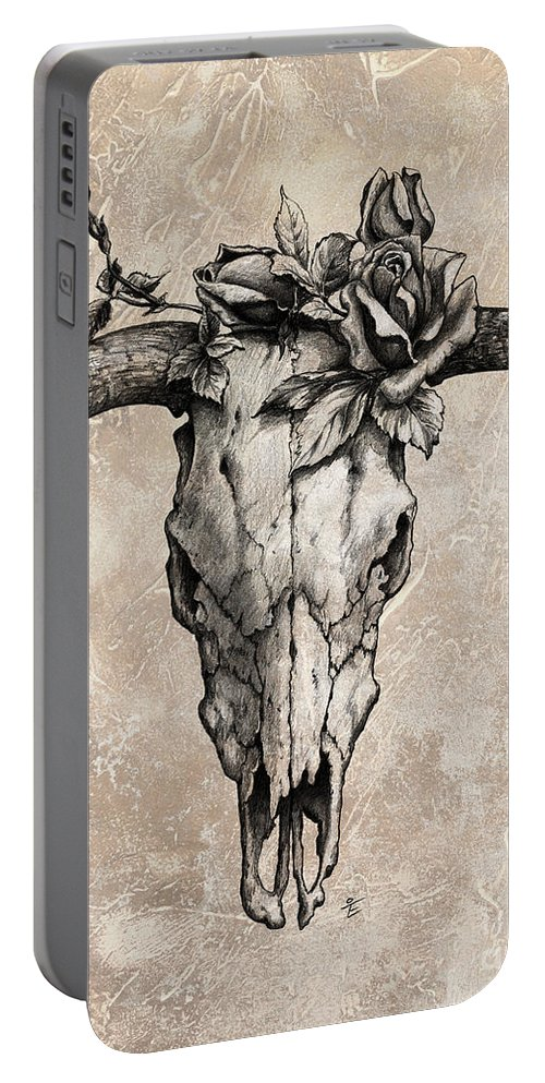 Bull Skull Portable Battery Charger featuring the drawing Bull Skull And Rose by Emerico Imre Toth