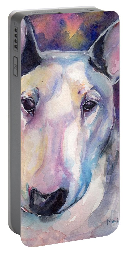 Bull Terrier Painting Portable Battery Charger featuring the painting Bull Terrier by Maria's Watercolor