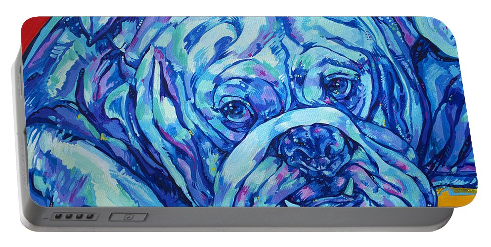 Bulldog Portable Battery Charger featuring the painting Bulldog Blues by Derrick Higgins
