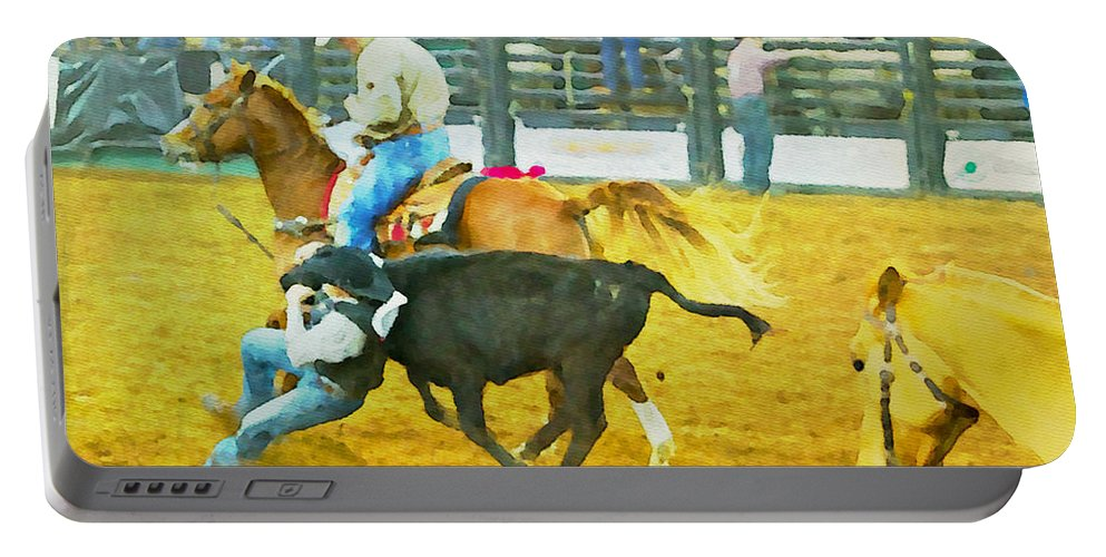 Bull Doggers Portable Battery Charger featuring the photograph Bulldoggin Cowboys by Alice Gipson