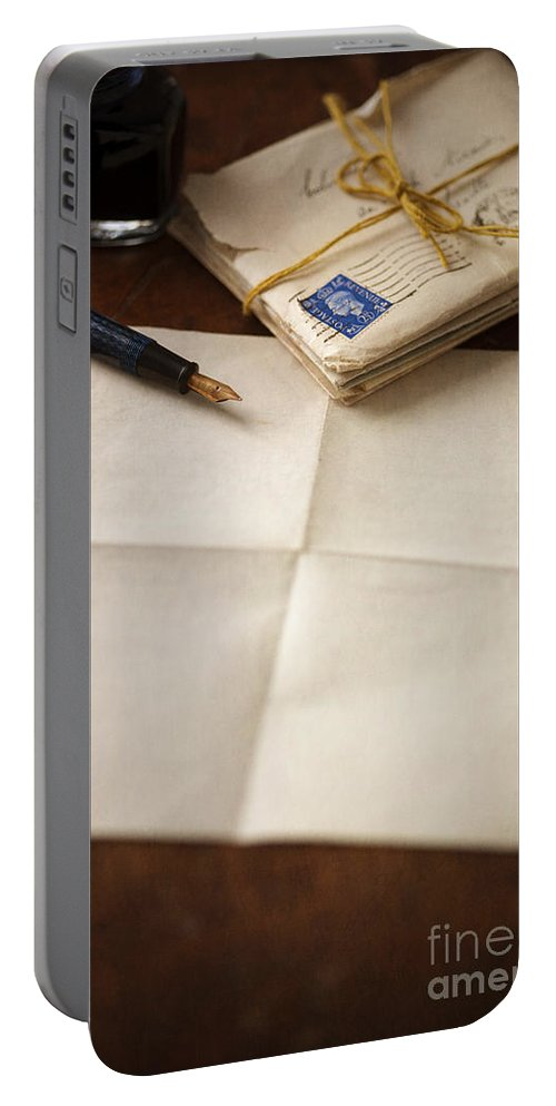 Letter Portable Battery Charger featuring the photograph Bundle Of Vintage Letters With Fountain Pen by Lee Avison