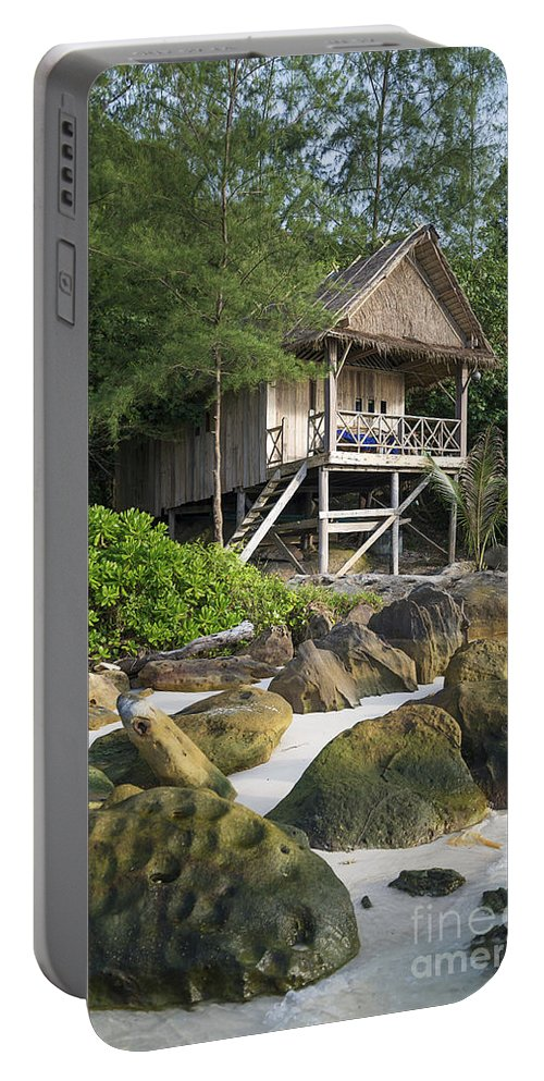 Accomodation Portable Battery Charger featuring the photograph Bungalow In Koh Rong Island Beach In Cambodia by Jacek Malipan