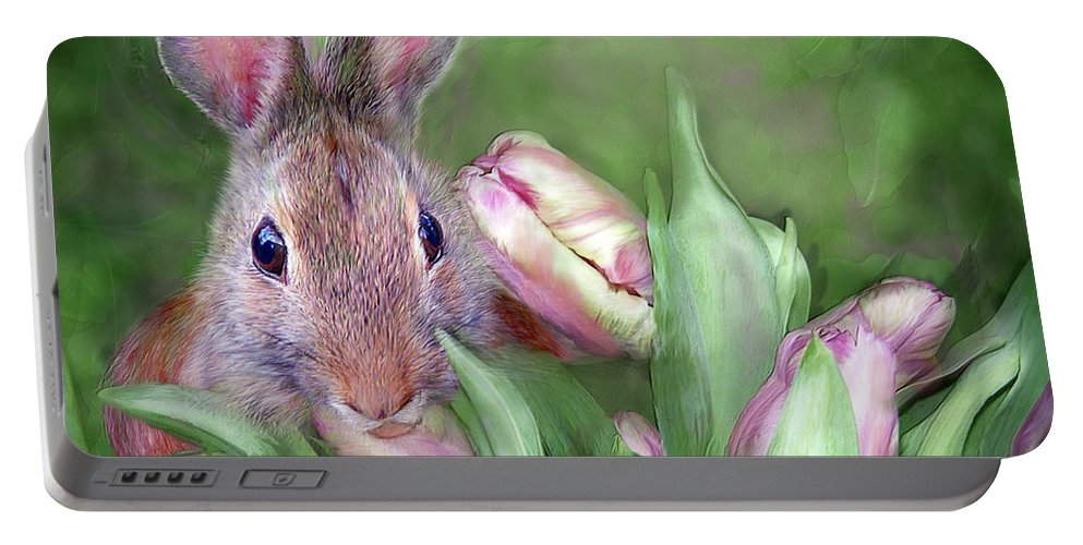 Bunny Portable Battery Charger featuring the mixed media Bunny In The Tulips by Carol Cavalaris