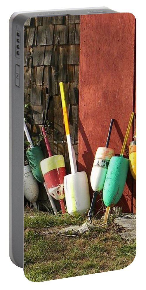 Buoy Portable Battery Charger featuring the photograph Buoys by Jean Goodwin Brooks