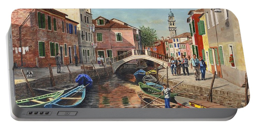 Landscape Portable Battery Charger featuring the painting Burano Canal Venice by Richard Harpum