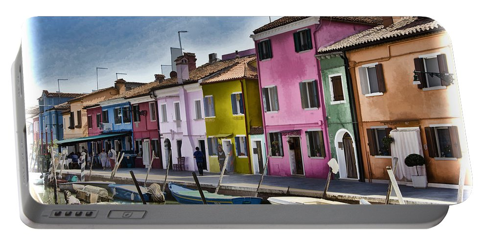 Burano Portable Battery Charger featuring the photograph Burano Italy - Colorful Homes by Jon Berghoff