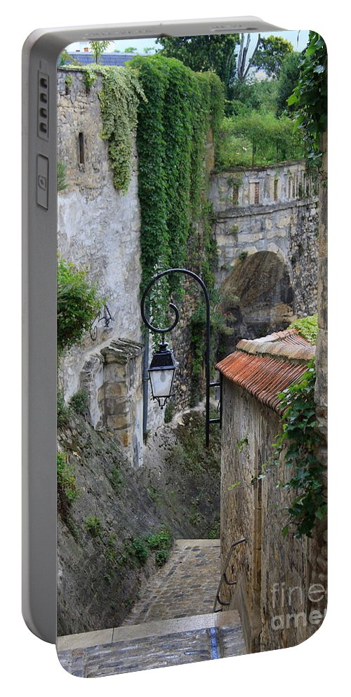Alley Portable Battery Charger featuring the photograph Burgundy Alley by Christiane Schulze Art And Photography
