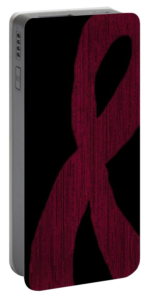 Burgundy Portable Battery Charger featuring the digital art Burgundy Ribbon by April Patterson
