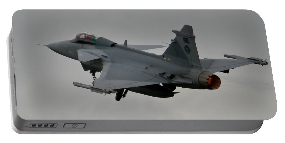 Saab Jas 39 Gripen Portable Battery Charger featuring the photograph Burning by Paul Job