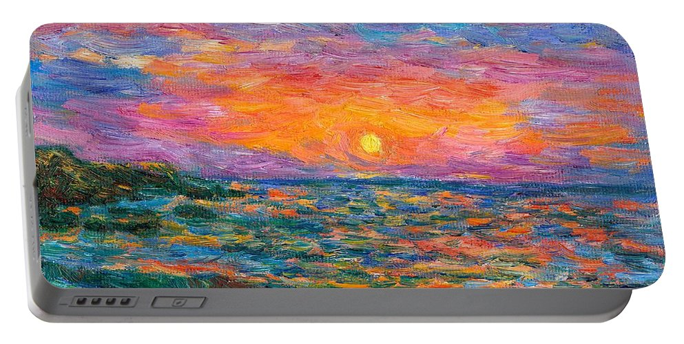 Ocean Portable Battery Charger featuring the painting Burning Shore by Kendall Kessler