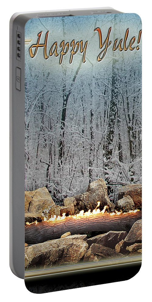Yule Portable Battery Charger featuring the digital art Burning Yule Log by Melissa A Benson