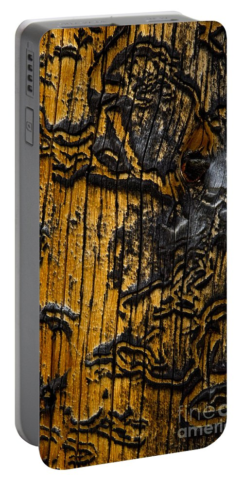 Wood Siding Portable Battery Charger featuring the photograph Burnt Beetle Maze #9991 by J L Woody Wooden