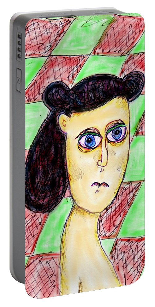 Burnt Out Betty Portable Battery Charger featuring the digital art Burnt Out Betty by Kiki Art