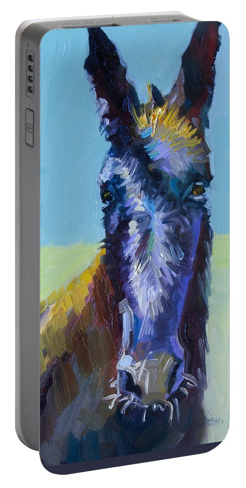 Burro Portable Battery Charger featuring the painting Burro Stare by Diane Whitehead