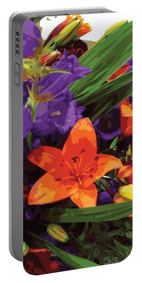 Abstract Portable Battery Charger featuring the digital art Burst Of Spring by James Kramer