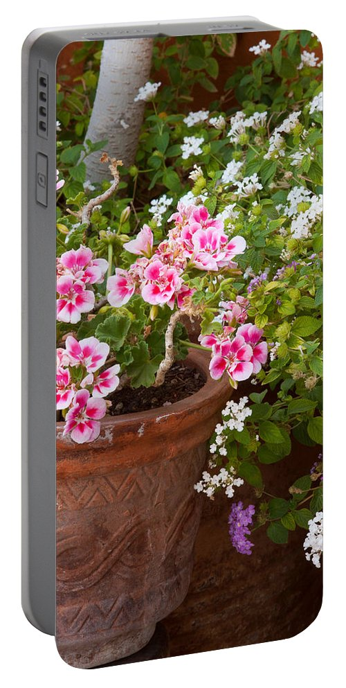 Pink Flowers Portable Battery Charger featuring the photograph Bursting With Blooms by Lindley Johnson