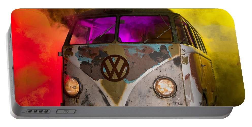 Barndoor Portable Battery Charger featuring the photograph Bus In A Cloud Of Multi-color Smoke by Richard Kimbrough