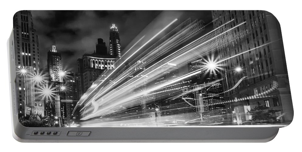 Modern; City; Cityscape; Road; Outdoor; Outside; Perspective; Street; Transportation; Building; Chicago; Illinois; Downtown; Urban; United States; Lights; Bokeh; Road; Street; Michigan Avenue; Dusable Bridge; Sidewalk; Walkway; Lights; Bus; Streaks; Speed; Fast; Night; Nighttime; Dark; Usa; Black And White; Monocrome Portable Battery Charger featuring the photograph Bus Lights by Margie Hurwich