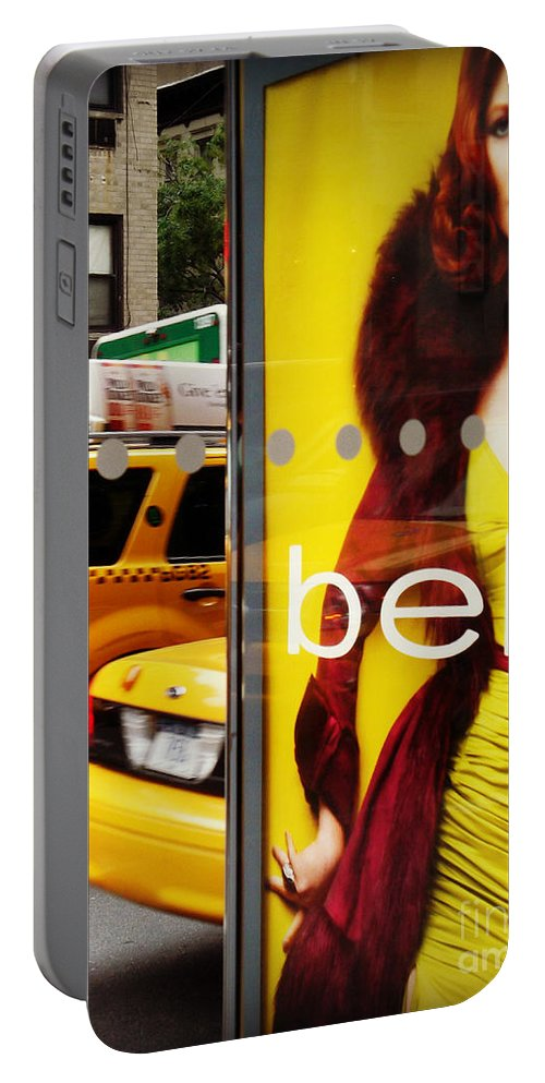 Taxi Portable Battery Charger featuring the photograph Bus Poster With Taxis - New York by Miriam Danar