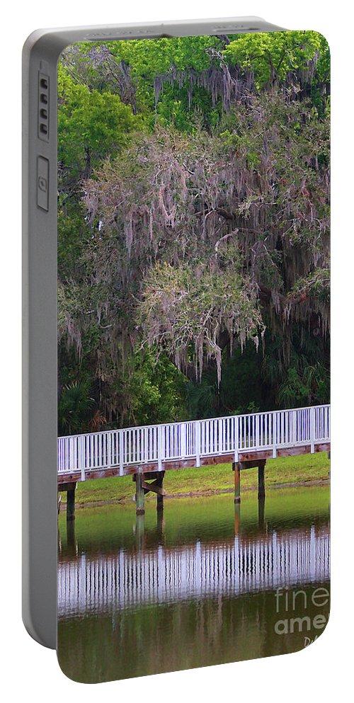 Lake Portable Battery Charger featuring the photograph Buschman Park Walkway by Deborah Benoit