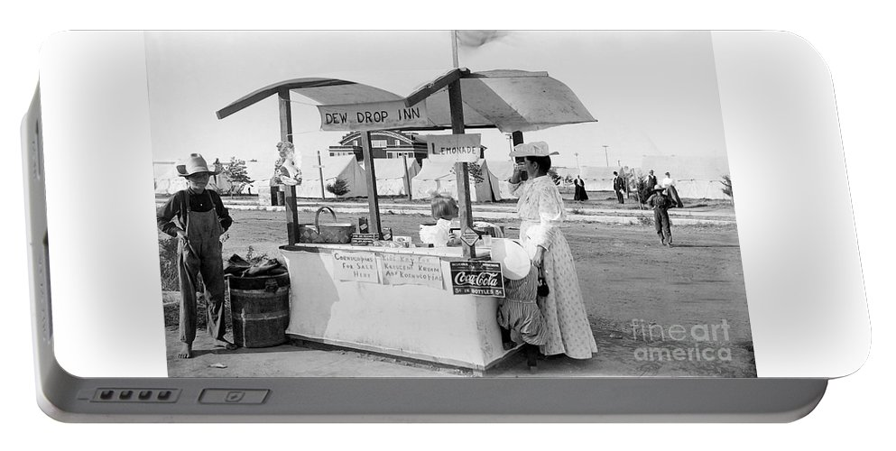 Discount Codes Portable Battery Charger featuring the photograph Business Venture Of 7-year Old - Helen Rohne At Huntington Beach Tent City by Doc Braham