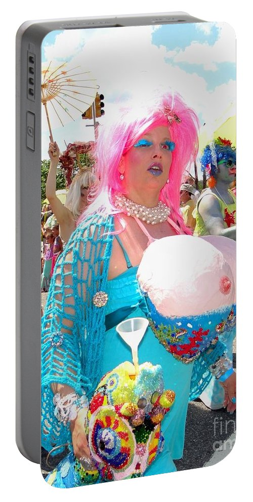 Mermaid Parade Portable Battery Charger featuring the photograph Busty Mermaid by Ed Weidman