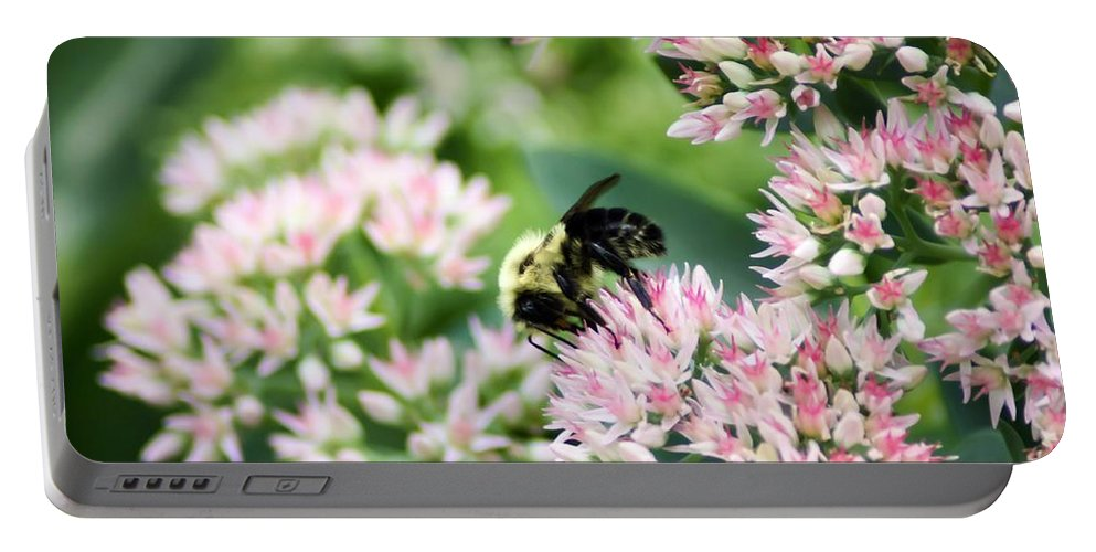 Busy Bumble Bee Portable Battery Charger featuring the photograph Busy Bumble Bee by Cynthia Woods