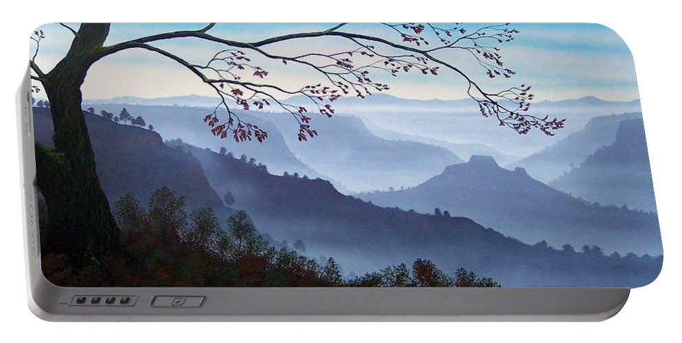Mural Portable Battery Charger featuring the painting Butte Creek Canyon Mural by Frank Wilson