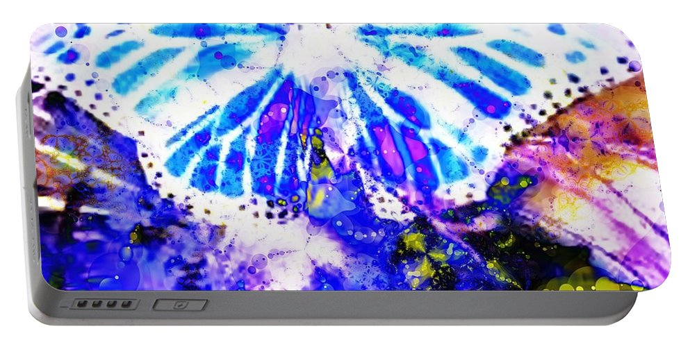 Fractal Art Portable Battery Charger featuring the digital art Butterfly 3 by Elizabeth McTaggart