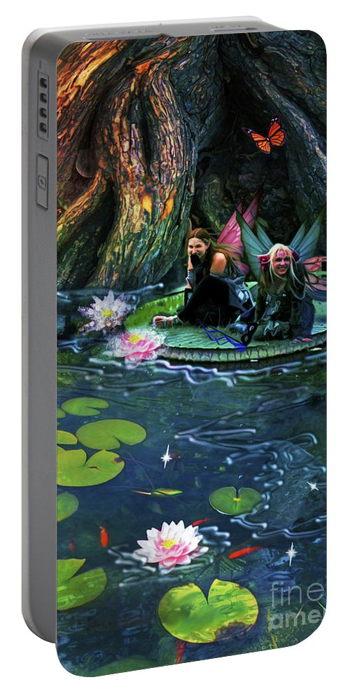 Aimee Stewart Portable Battery Charger featuring the digital art Butterfly Ball Pond by MGL Meiklejohn Graphics Licensing
