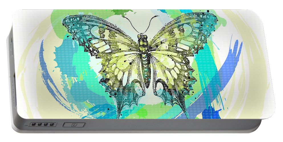 Beautiful Portable Battery Charger featuring the painting Butterfly Circles-jp2377 by Jean Plout
