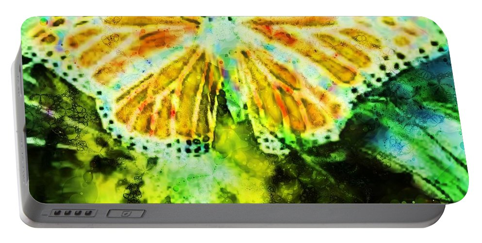 Fractal Art Portable Battery Charger featuring the digital art Butterfly by Elizabeth McTaggart