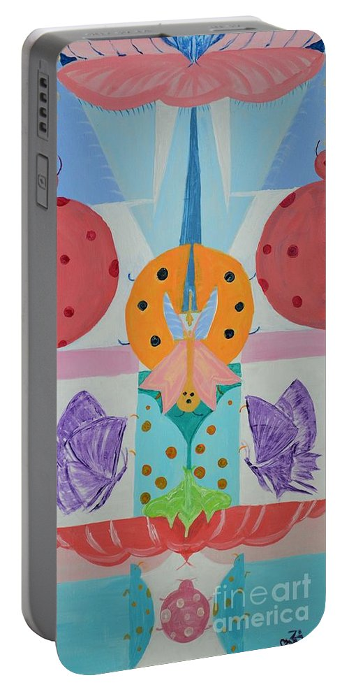 Children Portable Battery Charger featuring the painting Butterfly Kisses And Ladybug Hugs by Om Art Studio Dean Walther