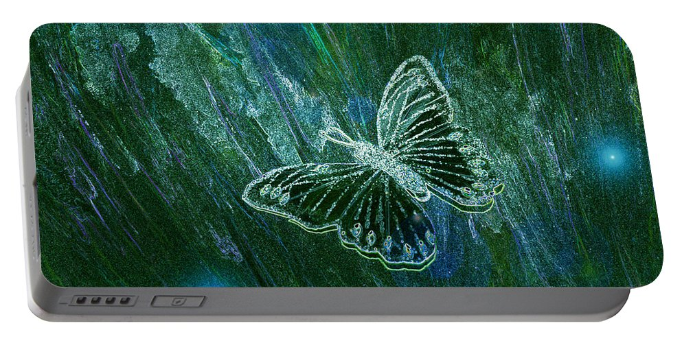 First Star Art Portable Battery Charger featuring the painting Butterfly Magic By Jrr by First Star Art