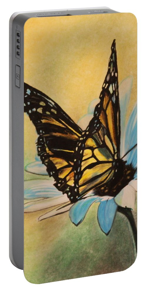 Butterly Portable Battery Charger featuring the drawing Butterfly On Flower by Michelle Miron-Rebbe