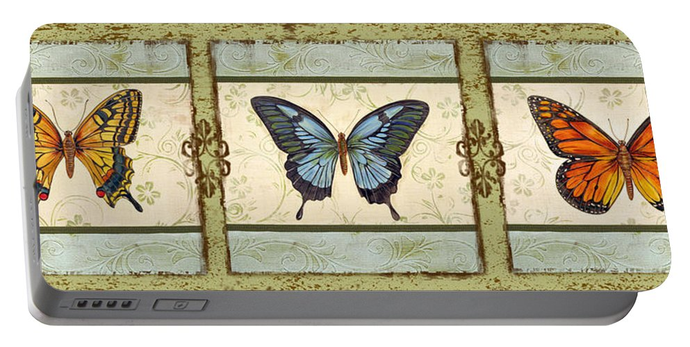 Acrylic Painting Portable Battery Charger featuring the painting Butterfly Trio-3 by Jean PLout