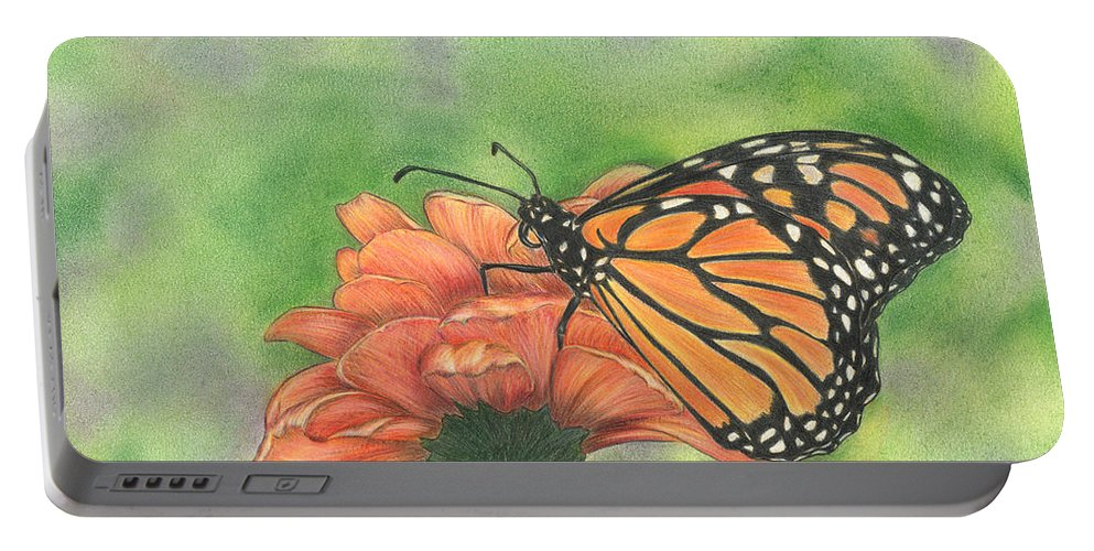 Butterfly Portable Battery Charger featuring the drawing Butterfly by Troy Levesque