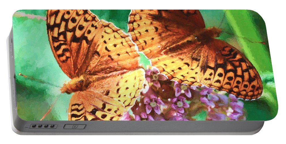 Great Spangled Fritillary Butterfly Portable Battery Charger featuring the photograph Butterfly Twins by Kerri Farley