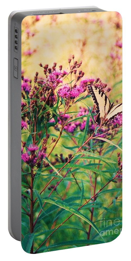 Floral Portable Battery Charger featuring the painting Butterfly Wildflower by Eric Schiabor