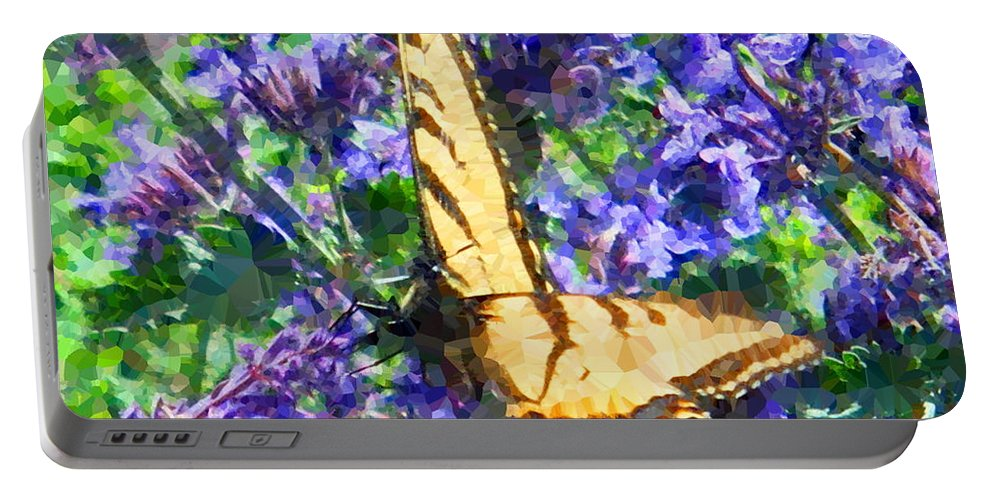 Butterfly Portable Battery Charger featuring the digital art Butterfly With Purple Flowers 3 by April Patterson
