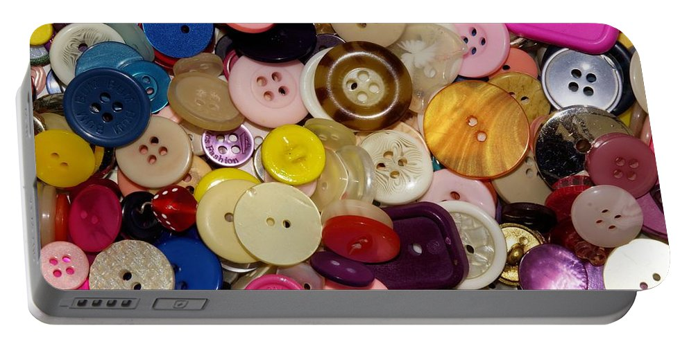 Button Portable Battery Charger featuring the photograph Buttons 667 by Ron Harpham