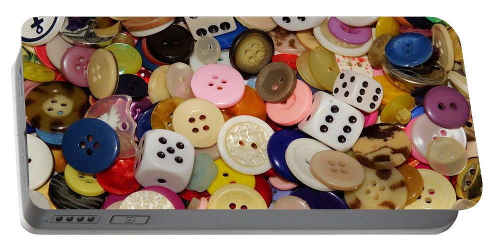 Button Portable Battery Charger featuring the photograph Buttons 676 by Ron Harpham